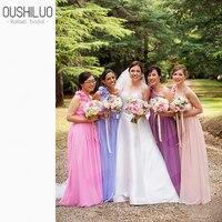 Wholesale Chiffon Bridesmaid Dresses Applique 3D Flower Pleats One Shoulder Long A Line Country Wedding Party Dress Plus Size