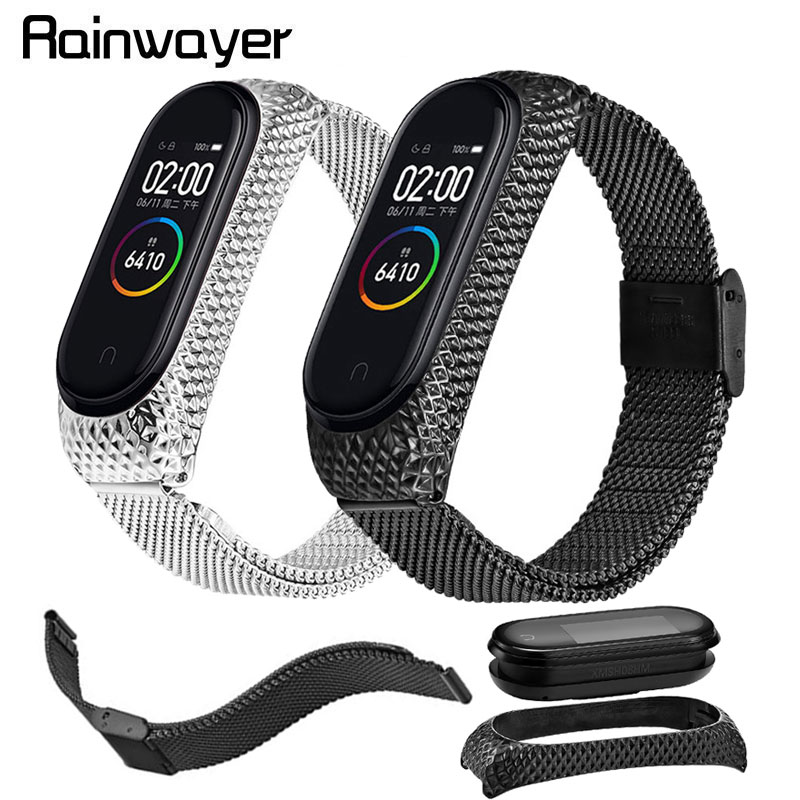 Stainless Steel Strap For Xiaomi Mi Band 4 3 Compatible Metal Bracelet For Xiaomi Mi Band 3 4 Strap For MiBand 3 4 Screwless