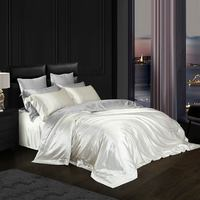 Svetanya White Solid Luxury Satin Natural 100% Mulberry Silk Bedding Sets Queen King Size Duvet Cover Set Sheets Bedlinen