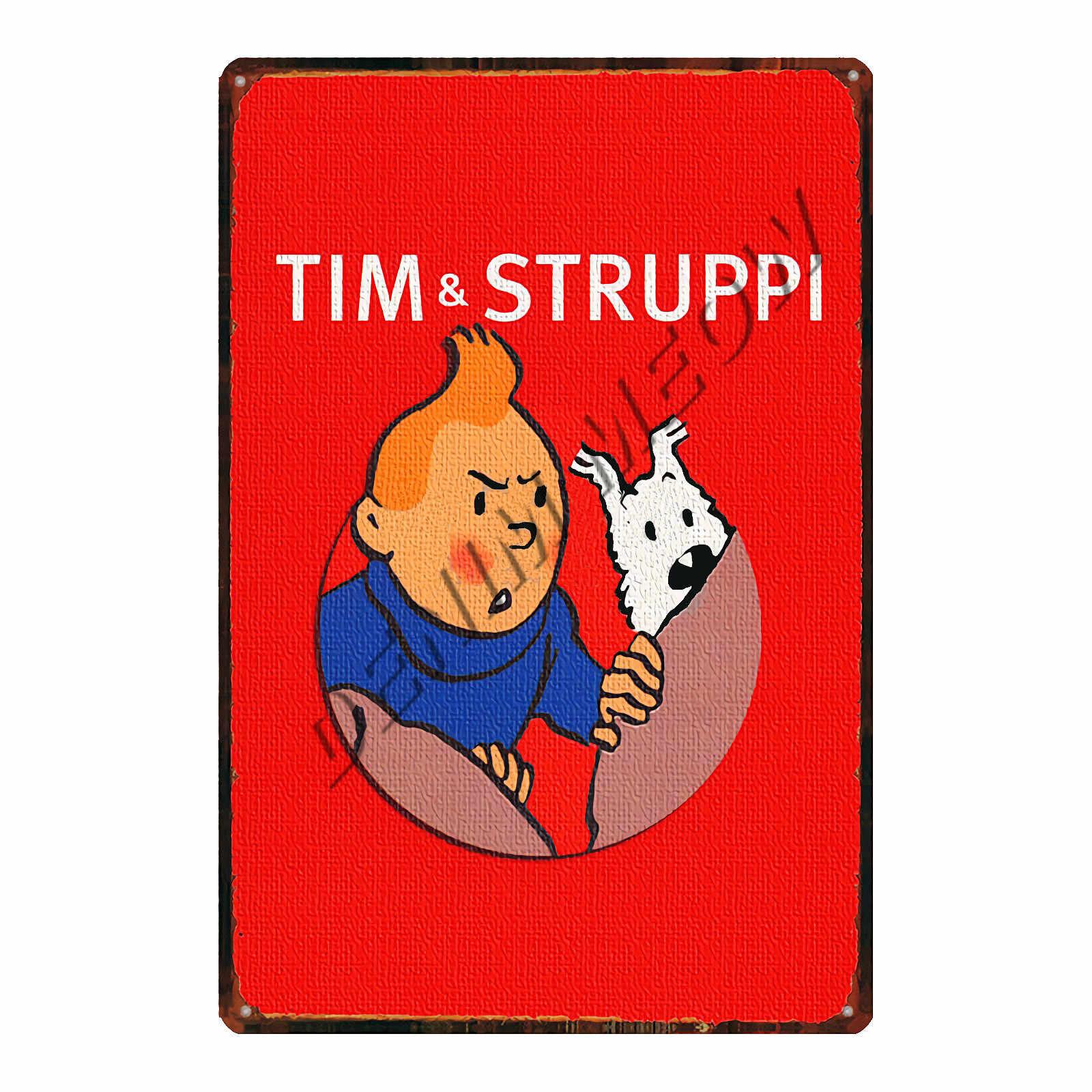 Vintage Tintin Cartoon charakter filmowy znak blaszany plakat Retro przygody Tintin metalowa płytka dzieci prezent wystrój pokoju WY109