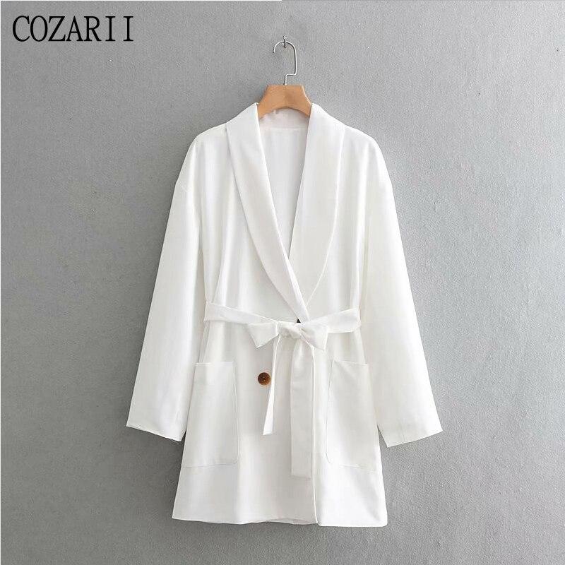Women Elegant Za White Spring Autumn Long Blazer 2019 New Fashion Female Adjustable Waist With Belt Double Breasted Long Jacket