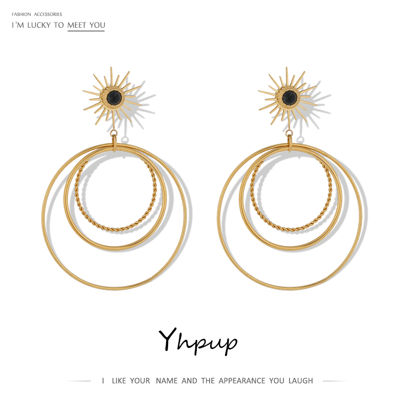 Yhpup New Round Multi-layer Dangle Earrings Gold Color Stainless Steel Jewelry Metal Geometric Statement Earrings for Women 2020