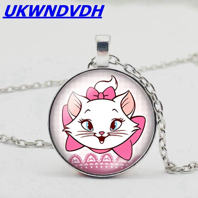 かわいい白いたずら猫フィギュア、カボションクリスタルペンダントネックレス、愛美しい子猫子ネックレスセーターチェーン