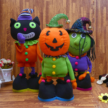 New Halloween Plush Dolls  Pumpkin Cat Zombie Retractable Standing stuffed Toys Novel for Kids Gift Room Decorate Display