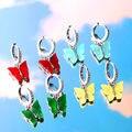 Flatfoosie Silver Color Butterfly Drop Earring For Women Fashion Simple Design CZ Earrings Elegant Temperament Jewelry Gifts