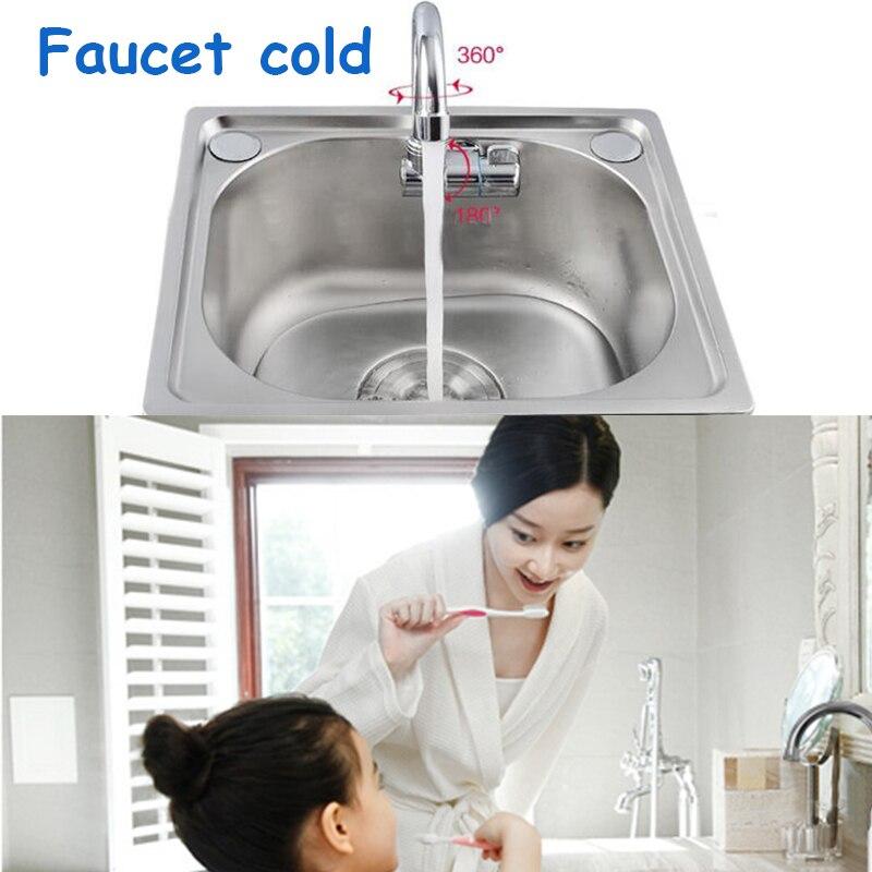 Hot Sale Bath Basin Faucet Brush Mixer Tap Vanity Cold Water Bathroom Faucets  Kitchen Camper Car Accessories