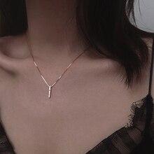 Louleur 925 collier en argent Sterling Zircon, barre verticale, pendentif romantique coulissant, collier pour femmes, cadeaux danniversaire de mariage