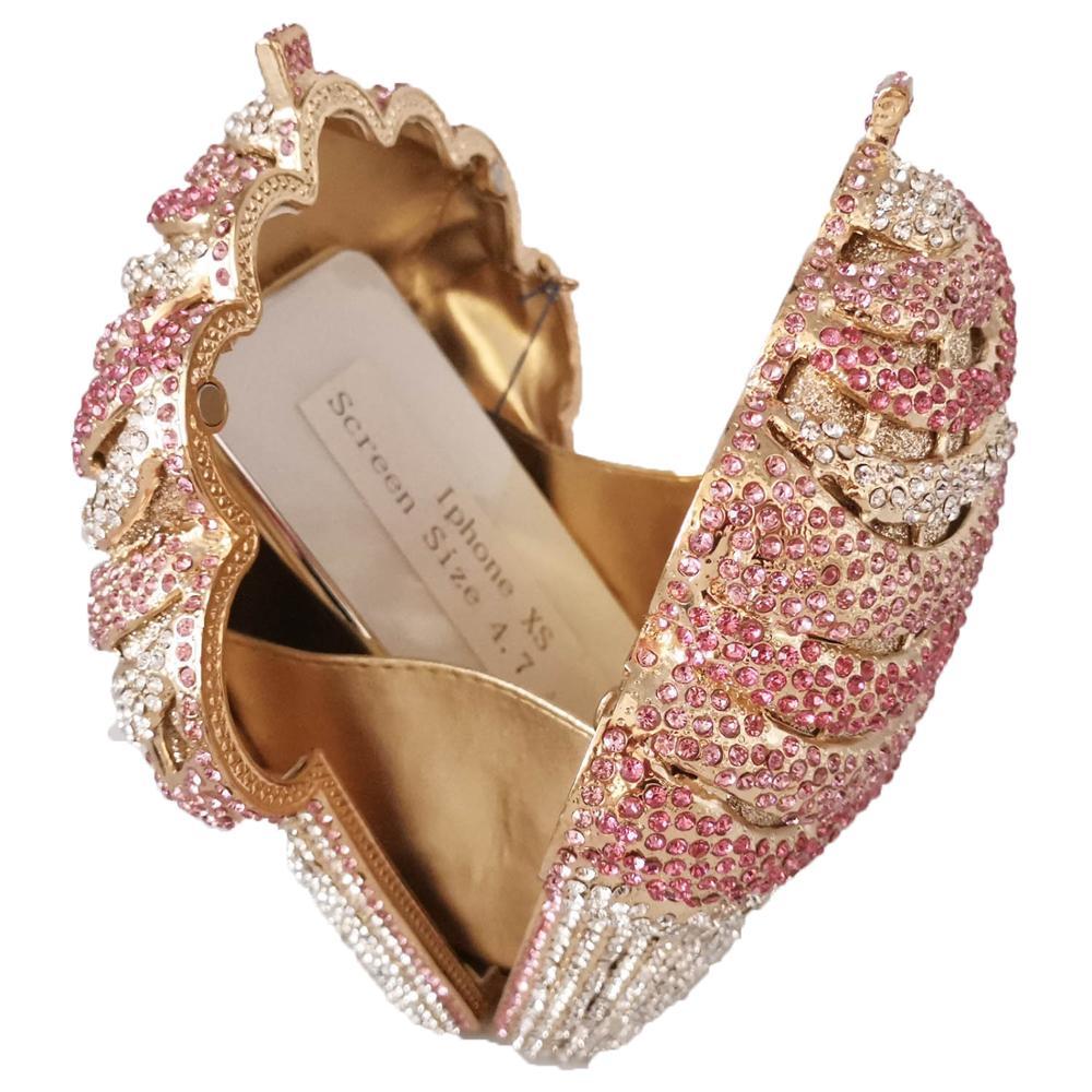 Image 4 - Boutique De FGG Ice cream Pink Women Crystal Evening Bags  Minaudiere Clutch Wedding Party Handbags Bridal Diamond BagTop-Handle  Bags