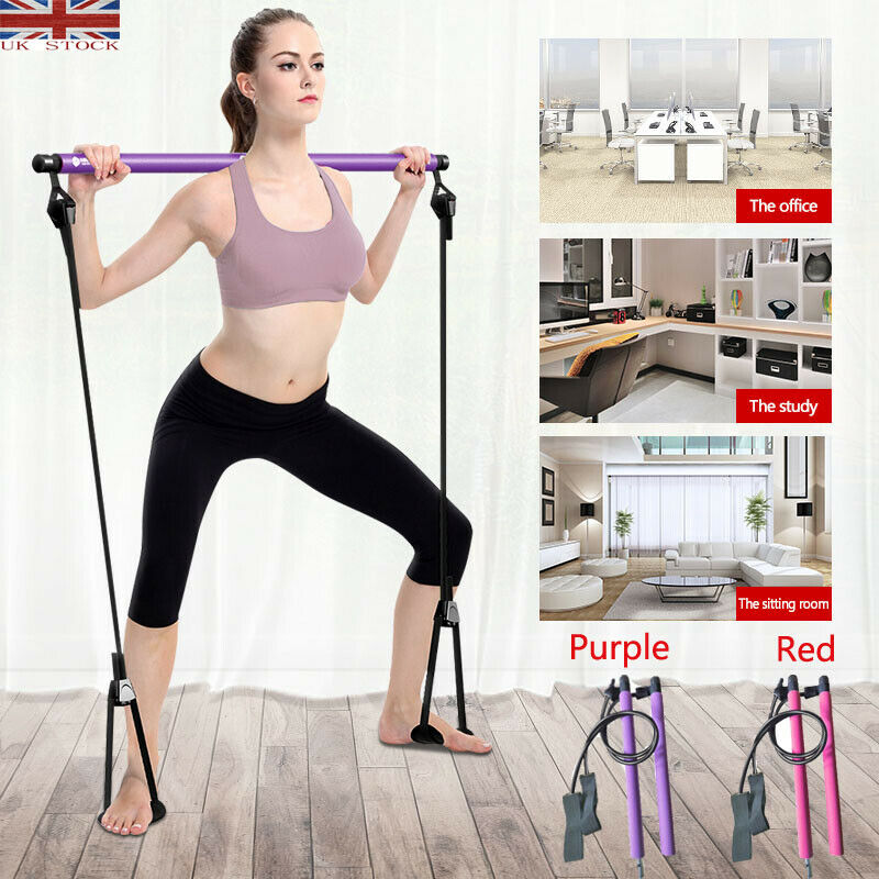 UK Portable Pilates Bar Stick Resistance Band Gym Home Fitness Sport Exercise Yoga Resistance Bands