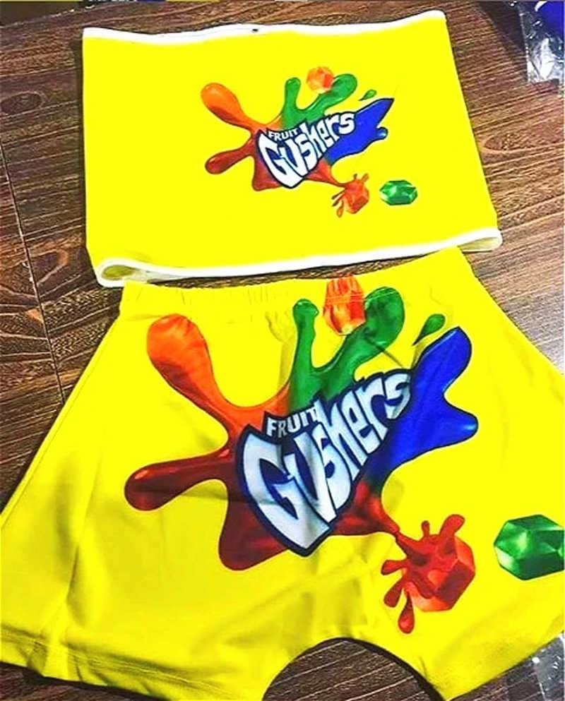 2020 şeker şort kadın Mini ganimet Bar şort iki parçalı Set kadın tüp üst parti sevimli Gushers Snickers Skittle Bodycon şort