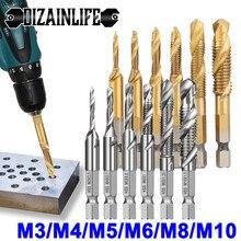 6/7 PCS M3 M4 M5 M6 M8 M10 Hex Shank Titanium Plated HSS Screw Thread Metric Tap Drill Bits Screw Machine Compound tap Hand Tool