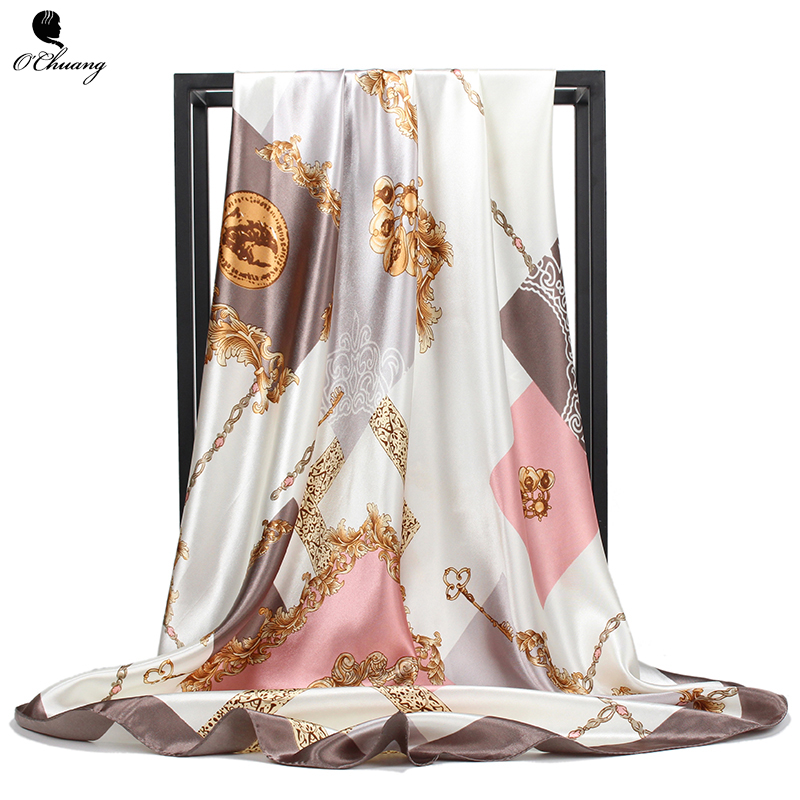 Silk Scarf Luxury Brand Fashion Foulard Satin Shawl Scarfs Big Size 90*90cm Square Satin Silk Hair / Head Scarves Women Bandana