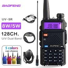Baofeng uv 5r walkie talkie estação de rádio comunicador UV 5R presunto transceptor 128ch interfone de banda dupla portátil walkie uv5r