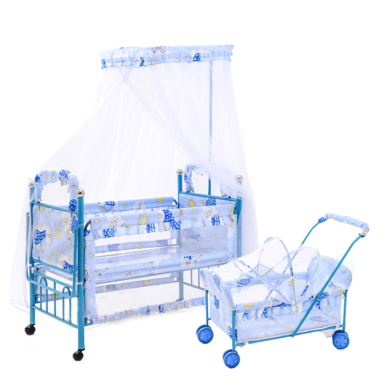 Lengthened Baby Bed With Inner Rocking Cradle, Multifunctional Baby Cot Can Joint With Adult Bed, Mosquito Net Included