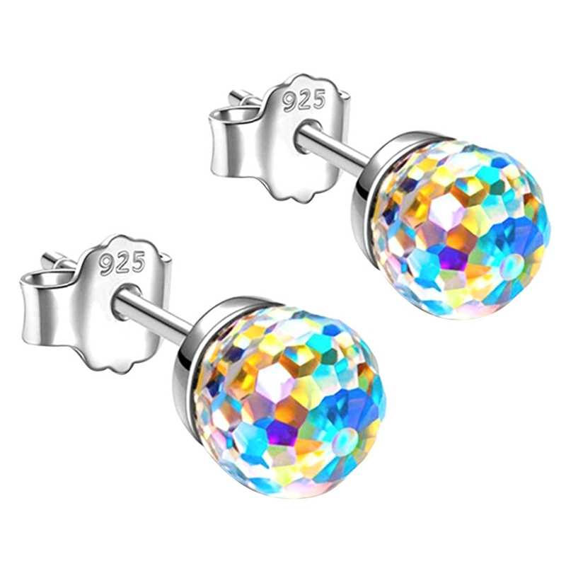 Simple Silver Plated Colorful Disco Ball Crystal Sparkling Stud Earrings For Women Girls Fashion Ear Jewelry Gift