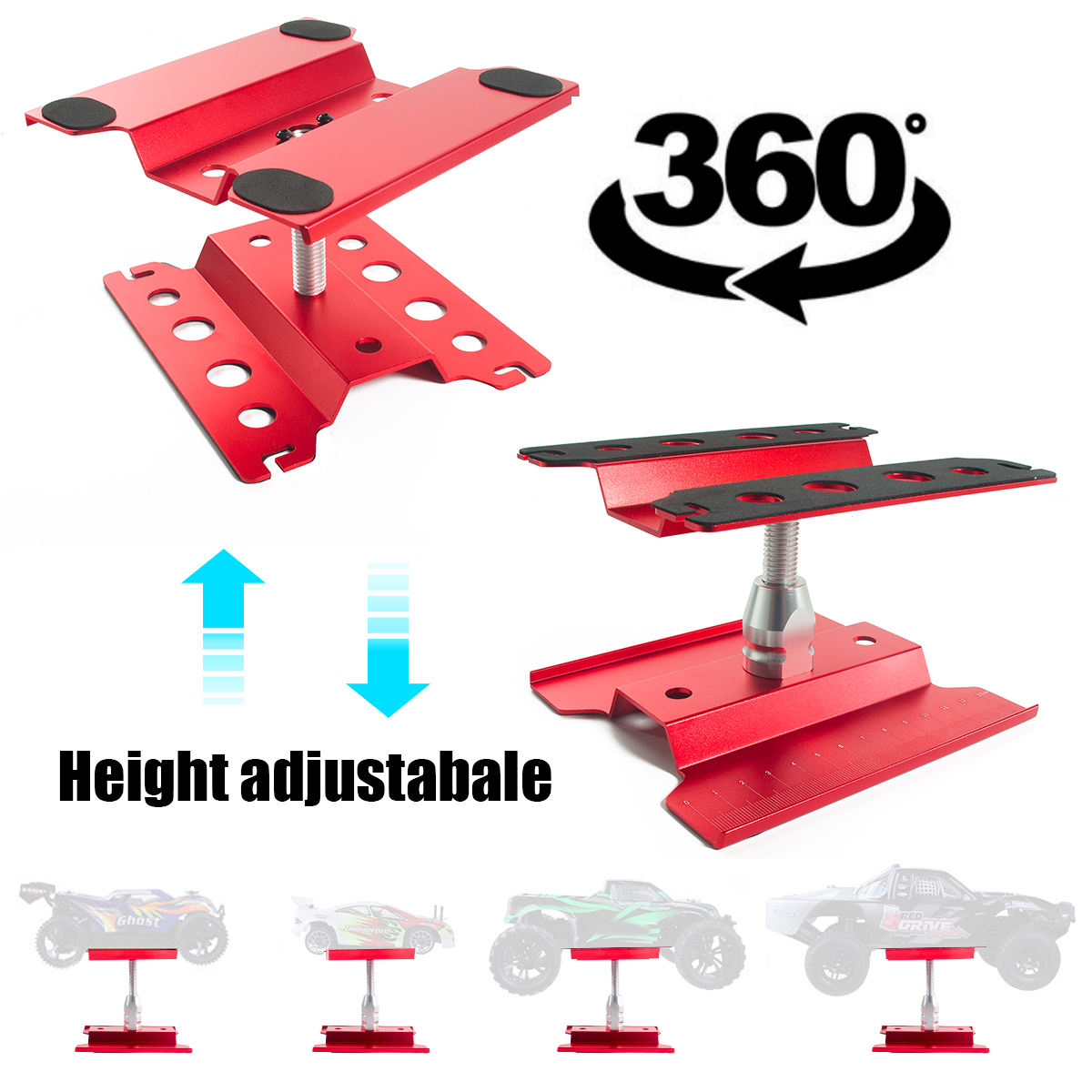 1:10 Metal Car Work Stand Assembly Repair Platform 360- Degree Rotation Lift Or Lower for 1/8 1/10 1/12 1/16 Scale Models