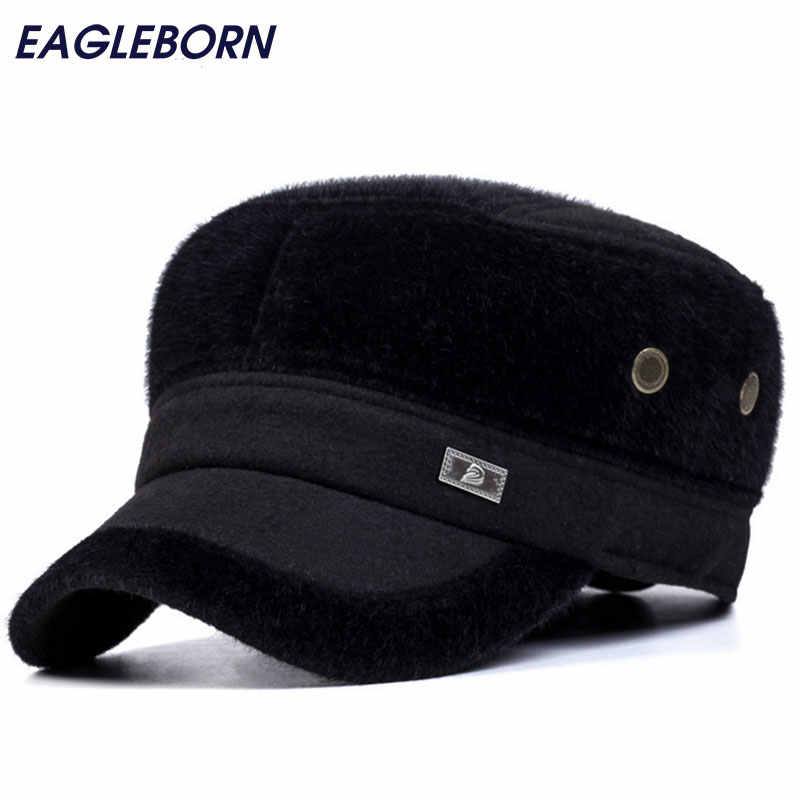 High Quality Fur Mens Hat Winter Protect Head Caps Gorras Chapeu Fashion Flat Top Casquettes