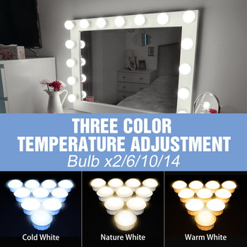 USB 12V Hollywood Vanity Mirror Bulbs Kit Led Makeup Light 3 Colors Dimmable Bathroom Cosmetic Mirror Wall Lamp Cosmetic Bulb 1