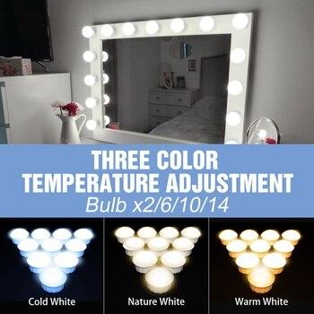 USB 12V Hollywood Vanity Mirror Bulbs Kit Led Makeup Light 3 Colors Dimmable Bathroom Cosmetic Mirror Wall Lamp Cosmetic Bulb led makeup vanity light 2 6 10 14bulbs kit led 12v hollywood mirror light bulb led 8w 12w 16w 20w dimmer wall lamp for bathroom
