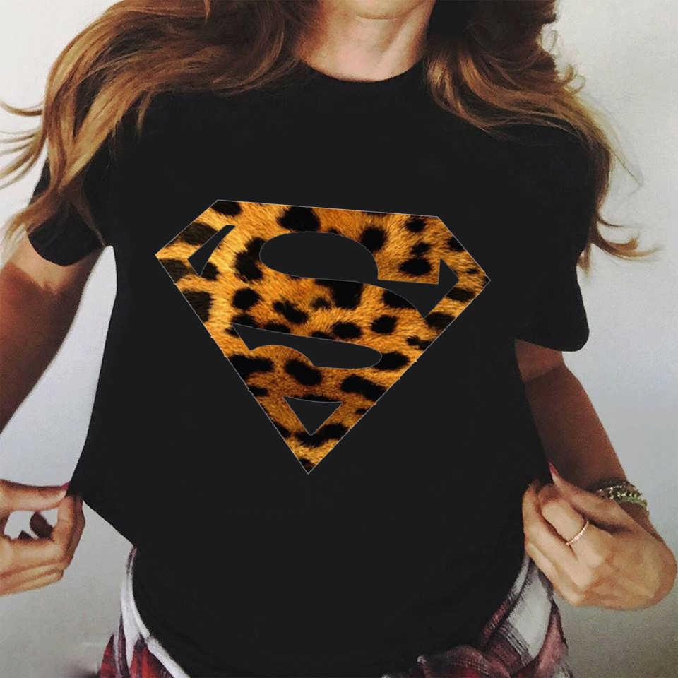 Vrouw T Shirt Mode Luipaard Superman Print Korte Mouw Zomer Mode Ulzzang T Shirts Esthetische Tshirt Harajuku Kleding