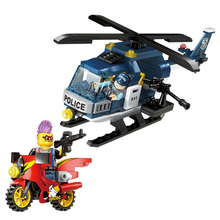 цена на 157pcs Children's educational building blocks toy Compatible city Police aircraft model DIY figures Bricks best gifts
