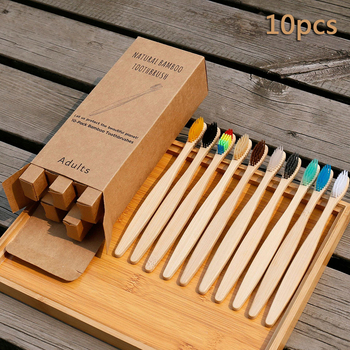 10Pcs Toothbrush Eco-Friendly Bamboo Toothbrush Rainbow Biodegradable Soft Fibre Teeth Brushes Solid Bamboo Handle Toothbrush