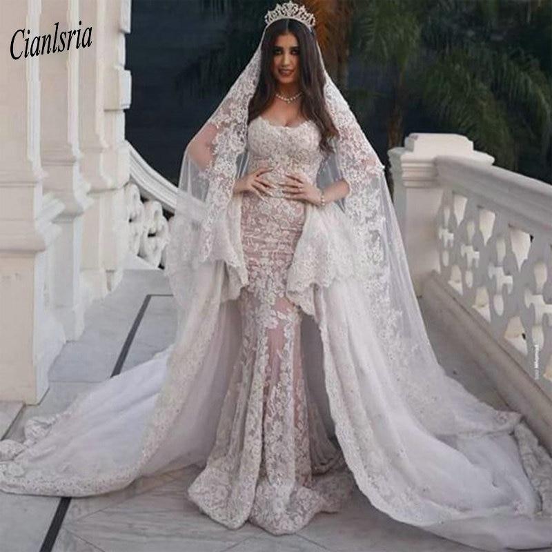 Image 4 - Modest Sweep Train Dubai Arabic Long Mermaid Wedding Dresses Cap Sleeve Appliques Lace Ruffles Bridal Gowns robe de mariéeWedding Dresses   -