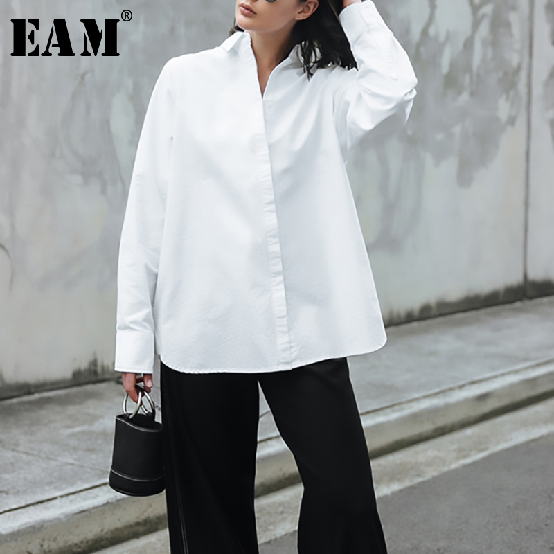 [EAM] Women White Brief Back Long Temperament Blouse New Lapel Long Sleeve Loose Fit Shirt Fashion Tide Spring Autumn 2020 1R270