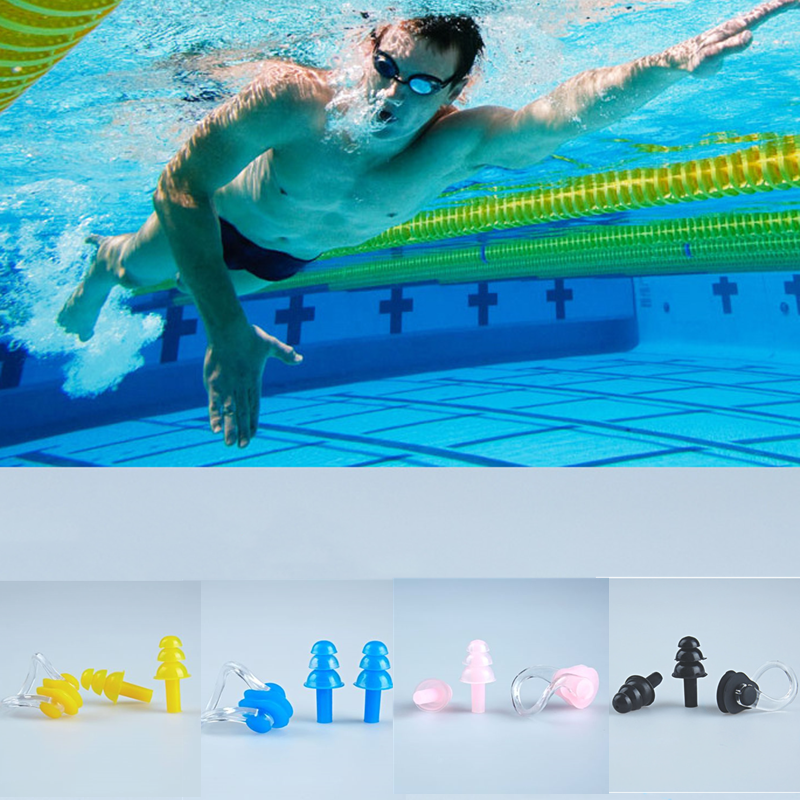 Hot 1 Set Waterproof Soft Silicone Swimming Accessories Nose Clip Ear Plug Earplug Tool