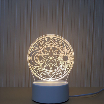 LED 3D Tarot Symbol Constellation NightLight Acrylic Night Lamp Light Luminary With Touch And Remote Lamps Lights Kids Decor GiC