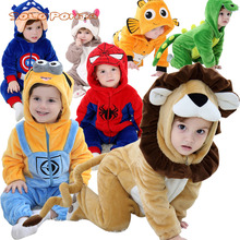 Baby Cartoon Rompers Newborn Hooded Toddler Clothing Boys Gi