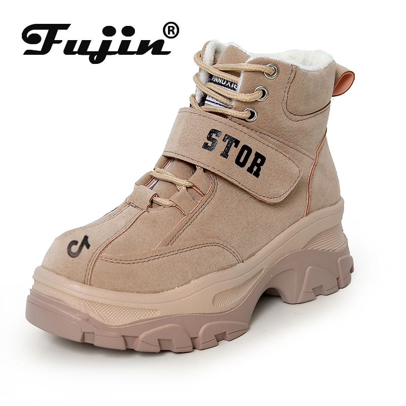 Fujin Platform Shoes Dropshipping Beige Black High Quality Leather Pu Zip Comfortable Women Shoes Sneakers For Autumn Spring
