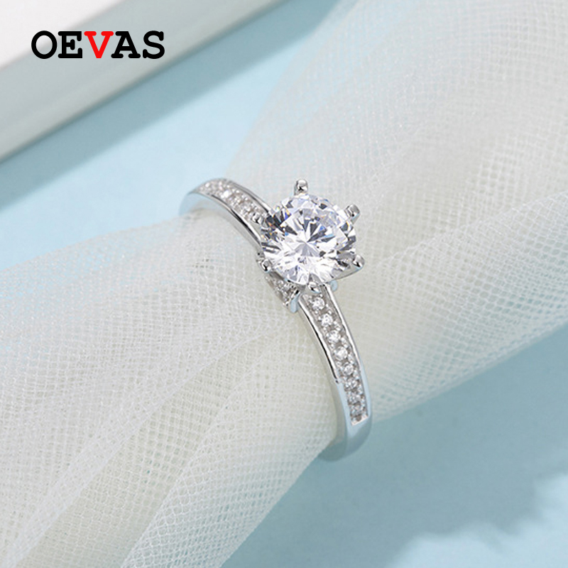 OEVAS 100% 925 Sterling Silver Real 1 Carat D Color Moissanite Wedding Rings For Women Sparkling Engagement Party Fine Jewelry