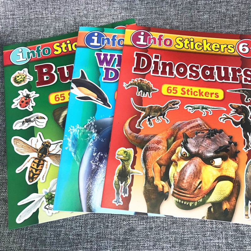 Dinosaur Sticker Books For Baby Leaning English Story Book With Reusable Stickers Preschool Educational Toys & Hobbies
