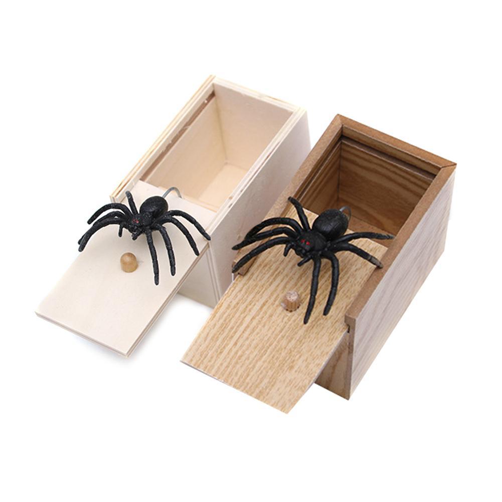 Rato aranha caixa surpresa piada diversão assustar brincadeira mordaça presentes crianças brinquedos adultos brinquedo complicado assustado caixa de madeira spoof assustador pouco bug Brincadeiras e piadas    -