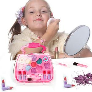 Cute Children Girls Simulation Washable Dressing Table Makeup Toy Cosmetics Party Performances Dressing Box Set Safety Non-Toxic(China)