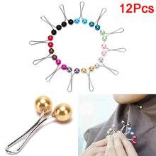 12pcs Headscarf Shawl Scarf Lady Muslim Scarf Hijab Clips Pearl Scarf Brooch Pin