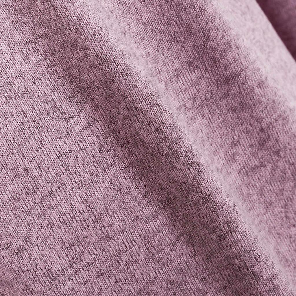 Suéter de punto sólido de manga larga de las mujeres de moda suéter de invierno 2020 abrigo femenino tapas Casual sólido Otoño Invierno suéter