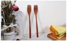 Novo 1 pçs colher de madeira garfo de bambu cozinha utensílios de cozinha ferramentas de sopa-colher de chá utensílios de mesa garfo de madeira de alta qualidade venda quente