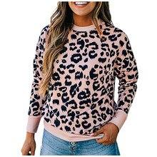 40# Korean Style Women Hoodies Sweatshirt Women O-neck Leopard Print Splicing Long Sleeves Pullover Hoodies Tops Sudaderas