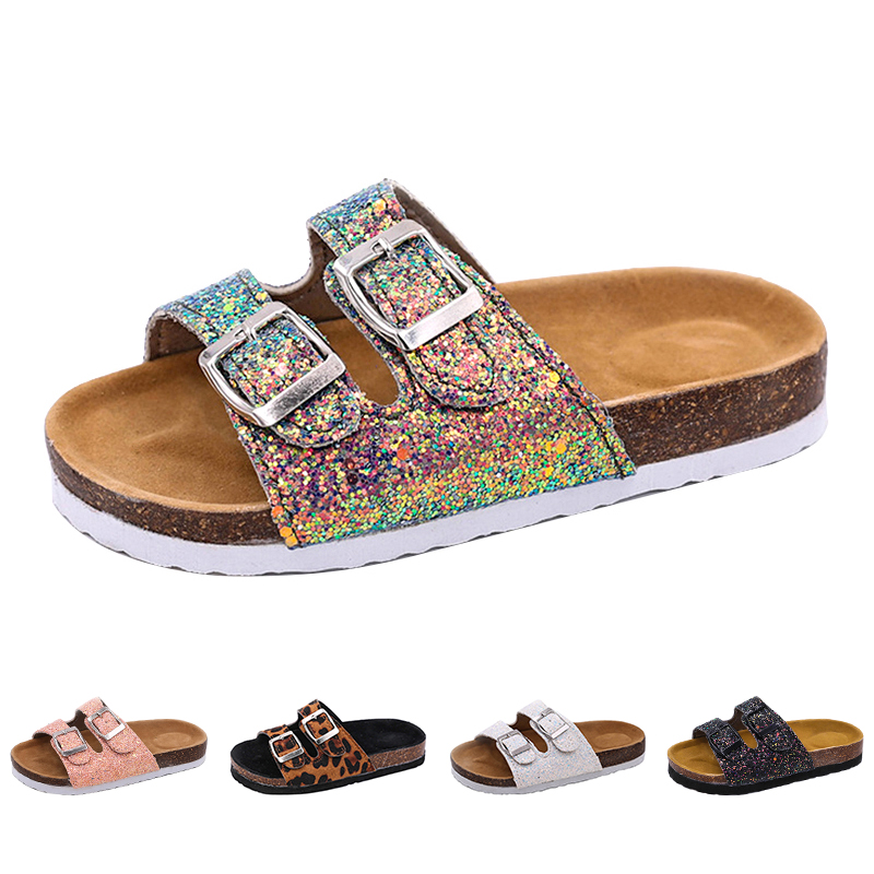 2019 New Kids Slippers Summer Beach Children Cork Sandals Bling Sequins For Family Shoes Leopard Barefoot Flats Girls Slipper