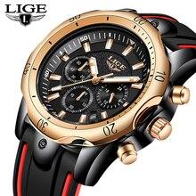 лучшая цена 2019New LIGE Silicone Strap Men Watches Fashion Top Brand luxury Business Luminous Quartz Watch Men Casual Waterproof Date Clock