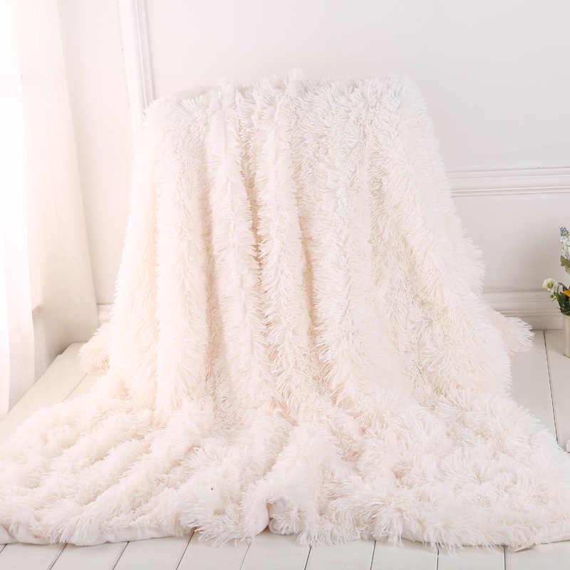 Yeni Süper Yumuşak Tüylü kürk battaniye Ultra Peluş Dekoratif Battaniye 130*160 cm/160*200 cm Kış Battaniye yatak kanepe battaniyesi
