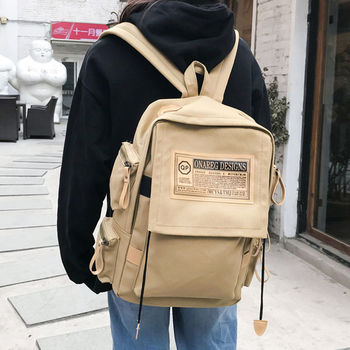 Retro Harajuku High School Students School Bags for Boys Teenagers Backpack Men Women Bookbags Large Capacity Personality Street fashionable backpack for men pu waterproof backpack for high school students campus schoolbags large capacity computer