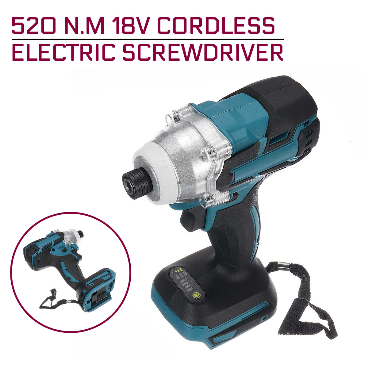 18V 520 N m Cordless Electric Screwdriver Speed Impact Wrench Rechargable Brushless Drill Driver  LED Light For Makita Battery