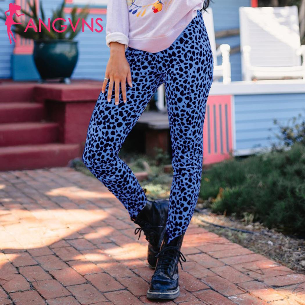 Women Casual Leopard Print Slim Full Length High Waist All Season White, Purple, Blue Leggings Pants