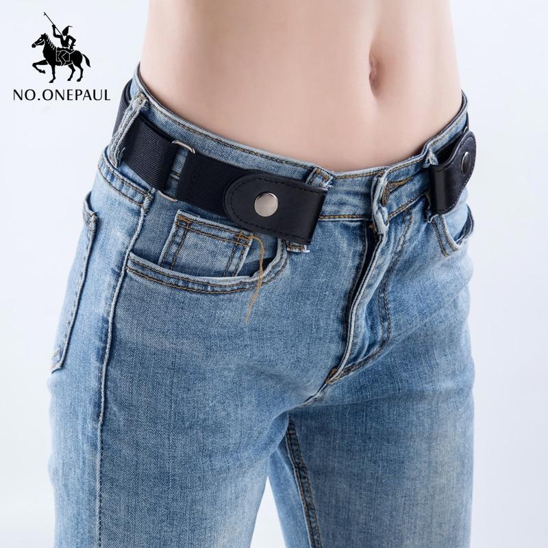 Jeans women's punk style buckle-free belt 1