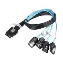 Sas sata cabo mini-sas SFF-8087 a 4 sata cabo mini sas 4i sff8087 36p a 4 sata 7p cabo 12gbps 50cm dados de disco rígido