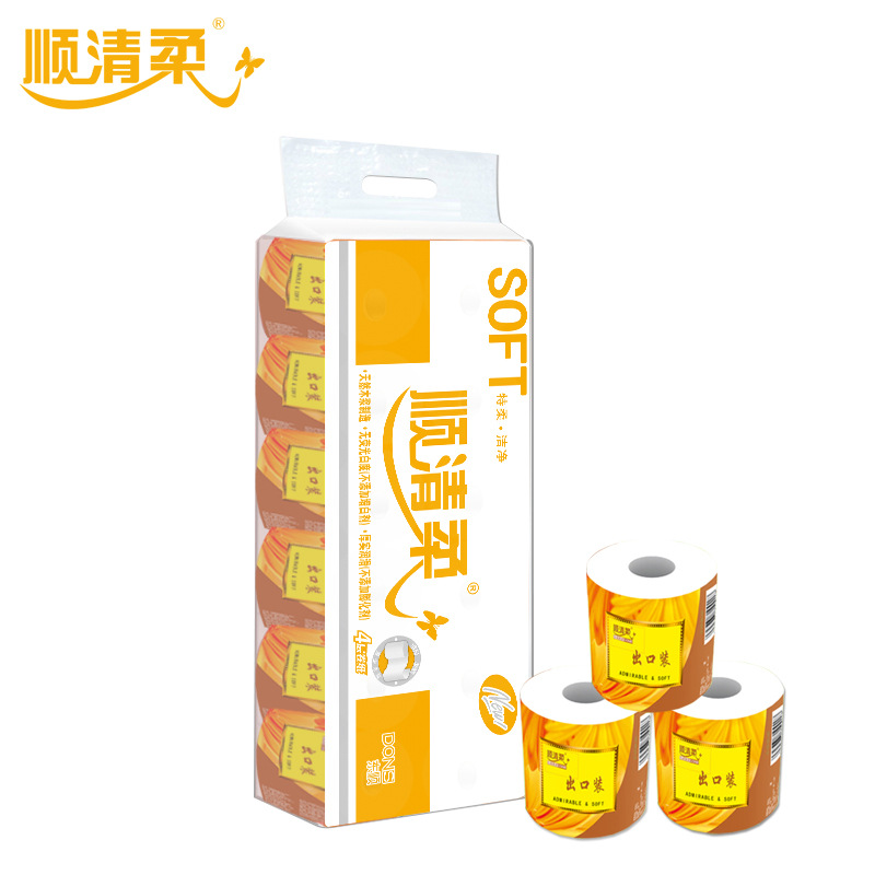 Shunqing Flexible Paper 150g Export Package Dongshun Core Web Paper Household 4 Layers Toilet Paper 12 Rolls