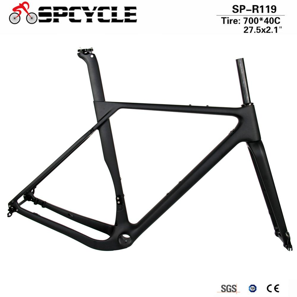 Newest Road MTB Gravel Full Carbon Bike Frame, Gravel Carbon Bicycle Frame, Cyclocross Disc Frame With Thru Axle 100/142mm